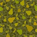 pear fruit leaf seamless vector pattern background Stock Photo - Royalty-Free, Artist: 100ker                        , Code: 400-04380681