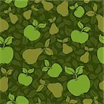 apple pear fruit seamless vector pattern background Stock Photo - Royalty-Free, Artist: 100ker                        , Code: 400-04380683