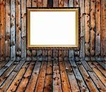 vintage old grunge wooden plank interior with golden frame