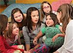 Little girl tells a story at a sleepover Stock Photo - Royalty-Free, Artist: creatista                     , Code: 400-04382086