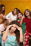 Babysitter holds head with wild little girls at a sleepover Stock Photo - Royalty-Free, Artist: creatista                     , Code: 400-04382095