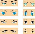 Set of different styles of manga eyes Stock Photo - Royalty-Free, Artist: zu1u                          , Code: 400-04382973