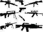 illustration of Different weapons collection silhouette - vector Stock Photo - Royalty-Free, Artist: violetas                      , Code: 400-04383189