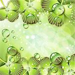 Clover with drops of water over abstract green background Stock Photo - Royalty-Free, Artist: Merlinul                      , Code: 400-04383409