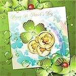 St. Patrick's Day card design with coins and clover Stock Photo - Royalty-Free, Artist: Merlinul                      , Code: 400-04383418