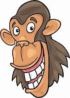 smiling chimpanzee - cartoon illustration of funny chimpanzee ape Stock Photo - Royalty-Freenull, Code: 400-04383471