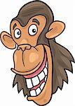 cartoon illustration of funny chimpanzee ape Stock Photo - Royalty-Free, Artist: izakowski                     , Code: 400-04383471