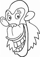 smiling chimpanzee - cartoon illustration of funny chimpanzee ape for coloring book Stock Photo - Royalty-Freenull, Code: 400-04383473