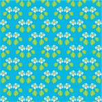 Handpainted seamless vector pattern with blue flowers and green leaves on a blue background