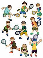 sweaty woman - cartoon Tennis Players icon   Stock Photo - Royalty-Freenull, Code: 400-04383532