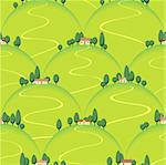 landscape country house on hill vector seamless background Stock Photo - Royalty-Free, Artist: 100ker                        , Code: 400-04384104