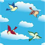 Vector birds flying in blue sky seamless background Stock Photo - Royalty-Free, Artist: 100ker                        , Code: 400-04384109