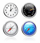 Glossy clock, speedometer and compass set illustration on white background Stock Photo - Royalty-Free, Artist: sermax55                      , Code: 400-04384382