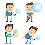 set of funny cartoon mechanic in various poses for use in presentations, etc. Stock Photo - Royalty-Free, Artist: artenot                       , Code: 400-04384852