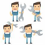 set of funny cartoon mechanic in various poses for use in presentations, etc. Stock Photo - Royalty-Free, Artist: artenot                       , Code: 400-04384867