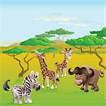 Cute African safari animal cartoon characters scene. Series of three illustrations that can be used separately or side by side to form panoramic landscape. Stock Photo - Royalty-Free, Artist: Krisdog                       , Code: 400-04385152