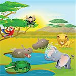 Cute African safari animal cartoon characters scene. Series of three illustrations that can be used separately or side by side to form panoramic landscape. Stock Photo - Royalty-Free, Artist: Krisdog                       , Code: 400-04385154
