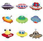 cartoon ufo spaceship icon set Stock Photo - Royalty-Free, Artist: notkoo2008                    , Code: 400-04385304