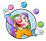 Happy clown juggling with balls in many colors Stock Photo - Royalty-Free, Artist: ThomasAmby                    , Code: 400-04385563