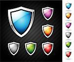 Shiny and colorful shields with chrome borders Stock Photo - Royalty-Free, Artist: ThomasAmby                    , Code: 400-04385564