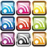 Set of rss buttons, multicolored, vector illustration Stock Photo - Royalty-Free, Artist: MarketOlya                    , Code: 400-04385806