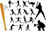baseball players silhouettes - vector Stock Photo - Royalty-Free, Artist: nebojsa78                     , Code: 400-04385920