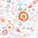 seamless bright red yellow floral pattern with birds on a white background Stock Photo - Royalty-Free, Artist: tanor                         , Code: 400-04385932