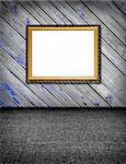 original stylish vintage plank decorated wal with blue paint l and carpet floor interior with frame and artistic shadows concept dissonance of elegance can be brutal Stock Photo - Royalty-Free, Artist: mrVitkin                      , Code: 400-04386046