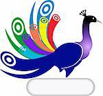 Illustration art of a peacock shape with isolated background Stock Photo - Royalty-Free, Artist: designersamy                  , Code: 400-04386890