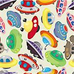 cartoon ufo spaceship seamless pattern Stock Photo - Royalty-Free, Artist: notkoo2008                    , Code: 400-04386972