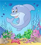 Happy dolphin at sea bottom 2 - vector illustration.
