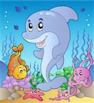 Happy dolphin at sea bottom 3 - vector illustration.