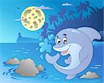 Night seascape with jumping dolphin - vector illustration. Stock Photo - Royalty-Free, Artist: clairev                       , Code: 400-04387301