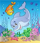 Various cute animals at sea bottom - vector illustration.