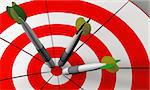 Bulls eye and darts in white and red 3D rendered Stock Photo - Royalty-Free, Artist: marphotography                , Code: 400-04387727