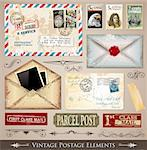 Vintage Postage Design Elements - set of various detailed post stamps and postage illustrations fully editable. Stock Photo - Royalty-Free, Artist: DavidArts                     , Code: 400-04388854