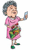 Cartoon of old lady shopping with her shopping list. Isolated on white Stock Photo - Royalty-Freenull, Code: 400-04389177