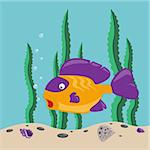 funny yellow fish swims in the sea