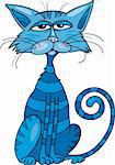 Cartoon illustration of Blue cat Stock Photo - Royalty-Free, Artist: izakowski                     , Code: 400-04389491