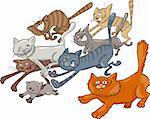 Cartoon illustration of running cats Stock Photo - Royalty-Free, Artist: izakowski                     , Code: 400-04389494