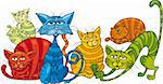 Cartoon illustration of funny color cats Stock Photo - Royalty-Free, Artist: izakowski                     , Code: 400-04389496