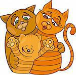 Cartoon illustration of happy cats family Stock Photo - Royalty-Free, Artist: izakowski                     , Code: 400-04389508