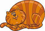 Cartoon illustration of happy fat red cat Stock Photo - Royalty-Free, Artist: izakowski                     , Code: 400-04389513
