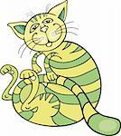 Cartoon illustration of happy green cat Stock Photo - Royalty-Free, Artist: izakowski                     , Code: 400-04389517
