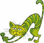 Illustration of Green Cat stretching Stock Photo - Royalty-Free, Artist: izakowski                     , Code: 400-04389518
