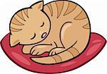 Cartoon illustration of sleeping kitten Stock Photo - Royalty-Free, Artist: izakowski                     , Code: 400-04389539