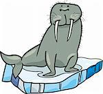 cartoon illustrationof walrus on floating ice Stock Photo - Royalty-Free, Artist: izakowski                     , Code: 400-04389547