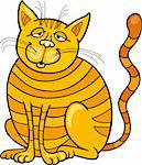 Cartoon illustration of Happy Yellow Cat Stock Photo - Royalty-Free, Artist: izakowski                     , Code: 400-04389551