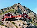Two wooden red cottage on the mountain, Norway, Lofoten Stock Photo - Royalty-Free, Artist: Rigamondis                    , Code: 400-04389693