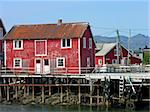 Old ruined red and white wooden nordic house over a river in Norway Stock Photo - Royalty-Free, Artist: Rigamondis                    , Code: 400-04389698